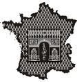 Contour of france with arc de triomphe vector