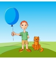 Boy and the cat walk with inflatable ball illustra vector
