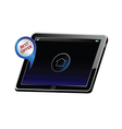 Tablet with best offer color vector
