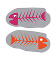 Fish fossil pink and orangefunny vector