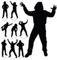 Man in various poses black silhouette vector
