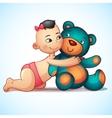 Asian baby girl with hugs teddy bear toy on a vector