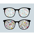 Retro sunglasses with snowman reflection vector
