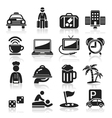 Hotel black icons set vector