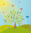 Tree on the meadow under the sun vector