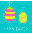 Hanging easter eggs with dash line and bow vector