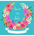 Vintage card with floral wreath save the date vector