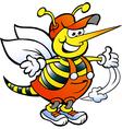Hand-drawn of an happy handyman bee vector