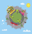 Around the world with cartoon animals vector