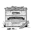 Retro crate of chili peppers black and white vector