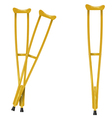 Wooden crutches on white background vector