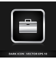 Suitcase icon silver metal vector