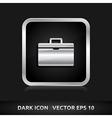 Suitcase icon silver metal vector