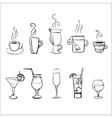 Set of sketchy drinks vector