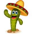 Cute cactus cartoon character vector