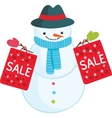 Cute cartoon snowman with sale bags vector