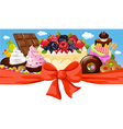 Horizontal design with sweet food - cake chocolate vector