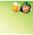 Cartoon leprechaun with mug of ale image vector
