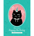 Cat animal cartoon birthday card design vector