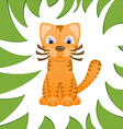 Cartoon cat looks like tiger in frame of jungle vector