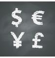 Chalkboard money signs vector