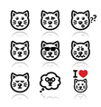 Cat icons set - happy sad angry isolated on whit vector