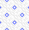 Diagonal white and blue wavy squares and flowers vector