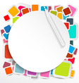 Paper circle on colorful square stickers vector