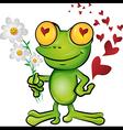 Frog cartoon in love vector