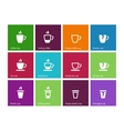 Coffee cup and tea mug icons on color background vector