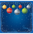 Blue christmas card with christmas ball vector