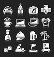 Hotel white icons set vector