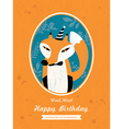 Fox animal cartoon birthday card design vector