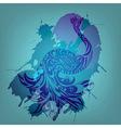 Blue peacock vector