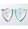 Modern shield set on sample background vector