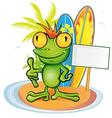 Frog cartoon surfer on island background vector