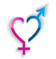 Male and female sex symbol heart shape concept vector