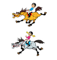 Girl and boy riders vector