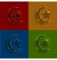 Glass ramadan icons set vector