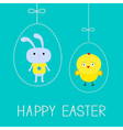Easter chicken and bunny hanging dash eggs card vector