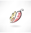 Hot pepper grunge icon vector