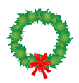 Christmas wreath of green maple leaves and bows vector