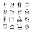 Airport icons black and white set vector
