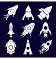 Rockets icons set on space background vector