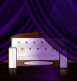 White sofa in the violet room vector
