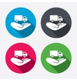 Company vehicles insurance sign hand hold truck vector