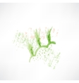 Green wheat grunge icon vector