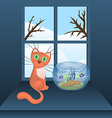 Cartoon cat and aquarium with fishes vector