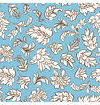 Outline flower and leafs on blue background seamle vector