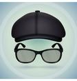 Black cap and eyeglasses vector